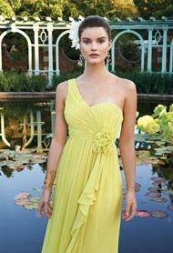 Crinkle One Shoulder Long Dress with Side Flower- Group USA