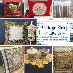 "2017 SALE OF 20-30% OFF on selected Upcycled Decorative Pillows and Vintage Linens! Check out our new ""CLEARANCE"" Section on Home Page.  www.VintageStoryLinens.etsy.com."