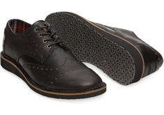 Toms Black Leather Men's Brogues