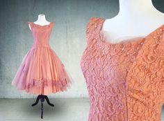 1950s Prom Dress in Dusty Rose Lace and Tulle by YellowBeeVintage #vogueteam #vintagegiftideas