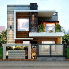 Modern home design 2 Storey House Design, Bungalow House Design, House Front Design, Small House Design, Cool House Designs, Double Storey House, Modern Exterior House Designs, Modern Tiny House, Modern House Design