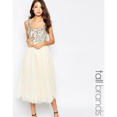 Little Mistress Tall Sequin Bodice Tulle Prom Dress ($82) ❤ liked on Polyvore featuring dresses, cream, cream cocktail dress, white dress, sequin cocktail dresses, tulle cocktail dress and layered dress