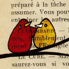 "use Friends"" from old dictionary    Original Ink Bird Illustration on Vintage Paper"
