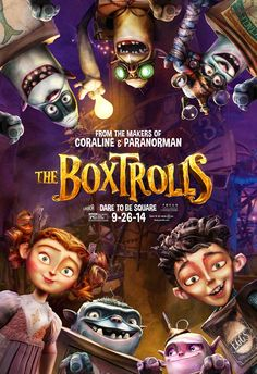 The Boxtrolls - a wonderful whimsical mashup stop action film that calls to mind Roahl Dahl, Neil Gaiman, Tim Burton . less truly scary than suspenseful and thoughtful- trolls are empathetic- some of the humans much less so. Animated Halloween Movies, Films D' Halloween, Animated Movie Posters, Cartoon Posters, Cartoon Movies, Richard Ayoade, Coraline, Interesting Movies To Watch, Awesome Movies