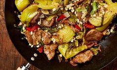 Yotam Ottolenghi's pork and preserved vegetable stir fry.