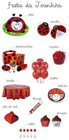 Sugestões para Festa de Aniversário com tema de joaninha, veja mais em nosso site: http://www.lojinhadakel.com.br/