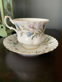 Vintage Royal Albert Teacup and Saucer Brigadoon, Scottish Thistle, stunning Blue and Pink, Bone China, England, Montrose Shape Teacup. Chocolate Photos, Hot Chocolate, Cherry Blossom Bonsai Tree, Scottish Thistle, Gold Gilding, Royal Albert, Queen Anne, Hand Blown Glass, Teacup