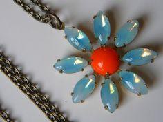 Vintage Daisy Flower Pendant Necklace Sabrina Blue Opal and Orange Daisy  Summer Daisy Necklace