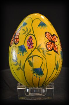 "6 inch hand painted Easter Egg ""Butterfly Garden"""