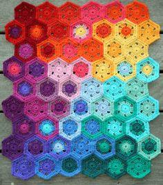 🌸🌼 🌺 Para Afegãos Crochê  Hexágono  itens decorativos Malha Bebê Criações -  /   🌸🌼 🌺  Crocheting Afghans Hexagon For Baby Knit Knacks Creations -