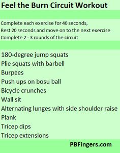 """Feel the Burn""..Total Body Circuit Workout..."
