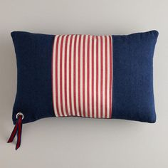 One of my favorite discoveries at WorldMarket.com: Denim with Red Stripe Americana Lumbar Pillow
