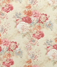 Waverly Ballad Bouquet Crimson Fabric - $23.95 | onlinefabricstore.net