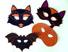 Caretas para Halloween #printable #imprimible #kids #craft #diy
