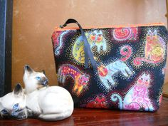 Fancy Felines Laurel Burch Make Up / Cosmetic / Coin / Cell Phone / Organizer / Brides Maid Gift / Pouch