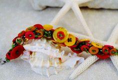 Bracelet Button Bonanza Buttons in Orange by WarmSandsGiftShop, $25.00