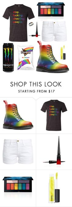 """Pride"" by emilymk10 ❤ liked on Polyvore featuring Frame, Christian Louboutin, Smashbox, MAC Cosmetics, Carolina Glamour Collection and pride"