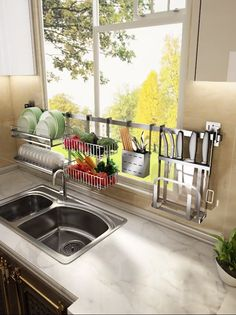 Use this dish drying rack over the sink or on the counter, save tons of space and time by making it easier to access utensils and supplies, water will drop into the sink directly, make your kitchen more clean and tidy. GREAT FOR HOME Kitchen Room Design, Modern Kitchen Design, Home Decor Kitchen, Interior Design Kitchen, Kitchen Furniture, Home Kitchens, Best Kitchen Designs, Diy Interior, Kitchen Space Savers