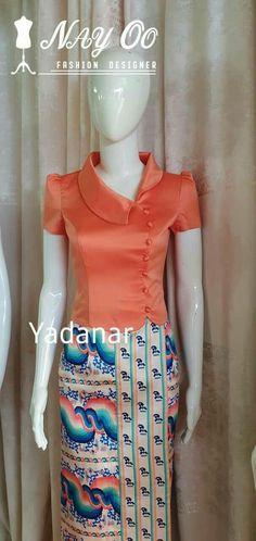 Sleeves Designs For Dresses, Sleeve Designs, Blouse Designs, Myanmar Traditional Dress, Traditional Dresses, Skirt Fashion, Fashion Dresses, Myanmar Dress Design, Indian Skirt