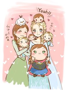 "Anna and Elsa from ""Frozen"" with ""Frozen""-themed Tsum Tsum dolls :) - Art by Urara (Himitsu Kamitu)"
