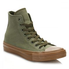 All Star Chuck Taylor II Herbal Gum Hi Top Trainers ($74) ❤ liked on Polyvore featuring shoes, sneakers, hi tops, converse footwear, breathable shoes, breathable sneakers and high-top sneakers