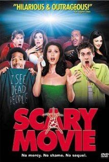 Scary Movie-   A year after disposing the body of a man they accidently killed, a group of dumb teenagers are stalked by a bumbling serial killer.