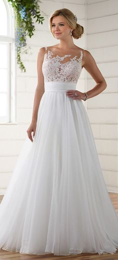 Stunning Tulle & Organza Illusion Scoop Neckline A-line Wedding Dresses With Lace Appliques #laceweddingdresses