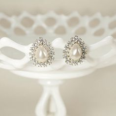Vintage Crystal Pearl Earrings, Rhinestone Bridal Earrings, Art Deco Wedding Earrings, Vintage Wedding Jewelry - Ready to Ship