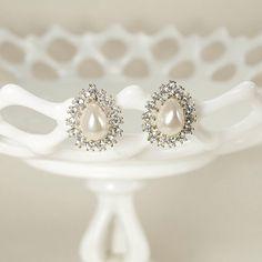 Vintage Crystal Pearl Earrings, Rhinestone Bridal Earrings, Art Deco Wedding Earrings, Vintage Wedding Jewelry - Ready to Ship