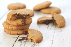 Chocolate Stuffed Peanut Butter Cookies - use evap cane juice with coconut sugar and organic chocolate