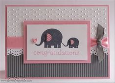Pink and grey baby card, never would have thought of using the grey! Instead of pink, yellow. For baby shower invites.