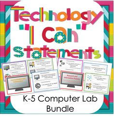 """Technology """"I Can"""" Statements for the K-5 Computer Lab. Perfect for displaying what skills you are currently working on. $"""