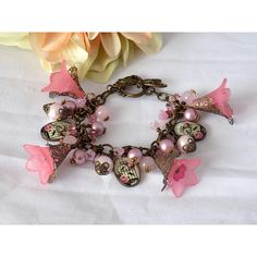 Victorian Style Charm Bracelet Swarovski Pink Pearl Bracelet Nature... (£28) ❤ liked on Polyvore featuring jewelry and bracelets