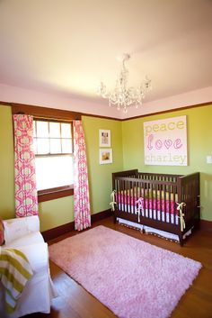 pink and green baby room