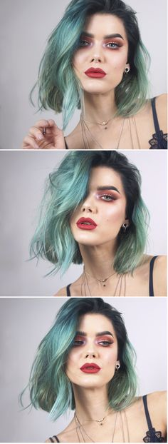 Top Makeup Accessories For The Professional Green Hair, Blue Hair, Cheap Makeup Online, Lady Lovely Locks, Makeup Tools, Makeup Products, Beauty Products, Makeup Brushes, Makeup Brands