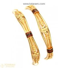 22K Gold Bangles - Set of 2 (1 Pair)  - 235-GBL1179 - Buy this Latest Indian Gold Jewelry Design in 31.050 Grams for a low price of  $1,618.55