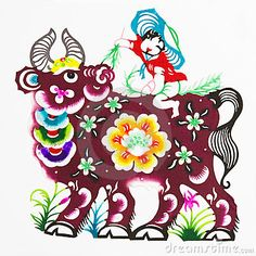 Ox, color paper cutting. Chinese Zodiac.