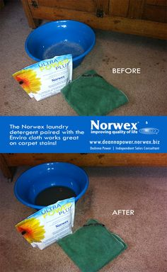Norwex : Carpet stain removal using the Ultra Power Plus detergent and a Norwex Enviro Cloth - it worked like magic. I will be trying this! :) www.vanessadecoursey.norwex.biz