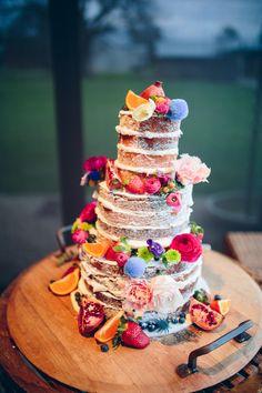 LARA + ADRIAN // #weddingcake #cake #colourfulcake #stonesoftheyarravalley #cherrytreebakhouse #flowers #pink #yellow #blue #sugarbeeflowers #bride #wedding #inspiration