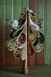 Quilled paper tree on wooden bobbin