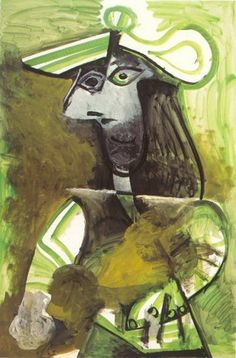 Pablo Picasso - Woman with hat, 1971 Pablo Picasso Artwork, Pablo Picasso Quotes, Art Picasso, Picasso Portraits, Picasso Paintings, Oil Paintings, Famous Spanish Artists, Picasso Images, Collage
