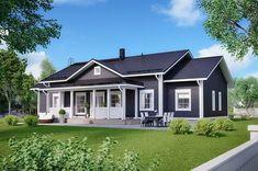 177 Klassinen Hailuoto — Design-Talo Home Fashion, Black House, Exterior Design, Shed, Floor Plans, Farmhouse, Outdoor Structures, Flooring, How To Plan