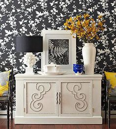 Think beyond paint for furniture makeovers. Add nailhead trim to flat surfaces. Instead of drilling or hammering nailheads, use a faux stand-in, such as metallic spray-painted round wood plugs. Use the trim to outline door panels or create designs. Diy Furniture Projects, Furniture Making, Furniture Makeover, Home Projects, Diy Möbelprojekte, Ribbon Projects, Wood Plugs, Nailhead Trim, Painted Furniture
