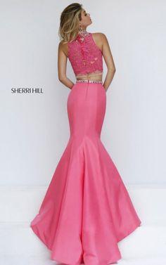 2016 Coral Sherri Hill 32348 High Neck Beaded Mermaid Prom Gown