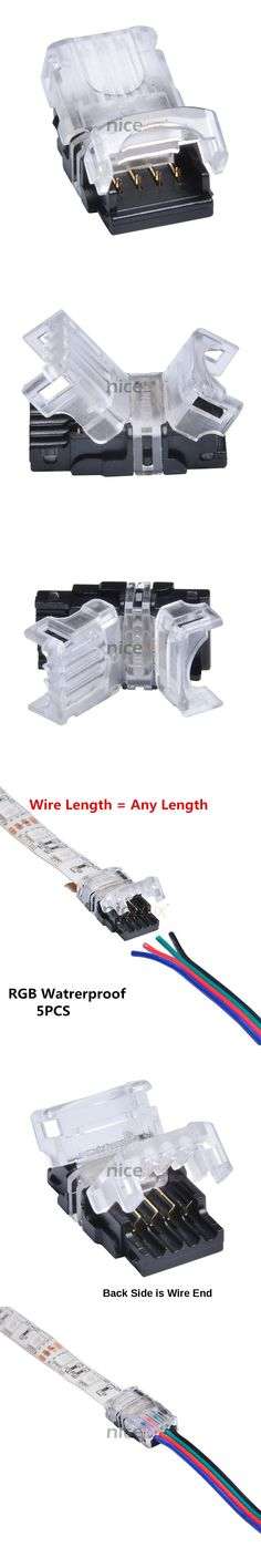 RGB LED Strip Connector 4 Pin 5050, 10mm Colorful LED Tape Light Connector Waterproof IP65 Strip to Wire Use.