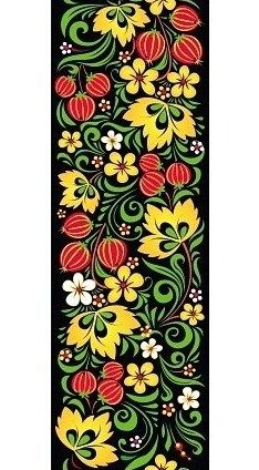 Folk Khokhloma painting from Russia. A floral pattern with leaves and gooseberries. #art #folk #painting #Russian