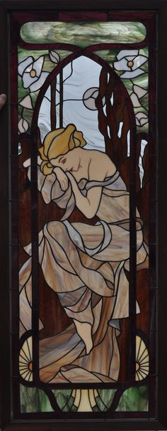 Mucha Nights Rest (stained glass window based off of the original painting by Alphonse Mucha) by Avogel57 on DeviantArt