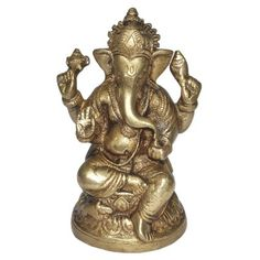 Lord Ganesha Brass Statue from India