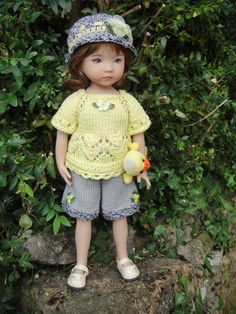 Handknitted Outfit for Little Darling Doll 13 inches Dianna Effner New