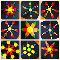 ❄ with pattern block snowflakes. Patterning Kindergarten, Kindergarten Activities, Kindergarten Classroom, Snow Theme, Winter Theme, Snow Crafts, Snow Activities, Holiday Activities, Tangram